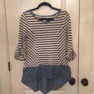 Anthropologie Striped Top with Polka Dot Details